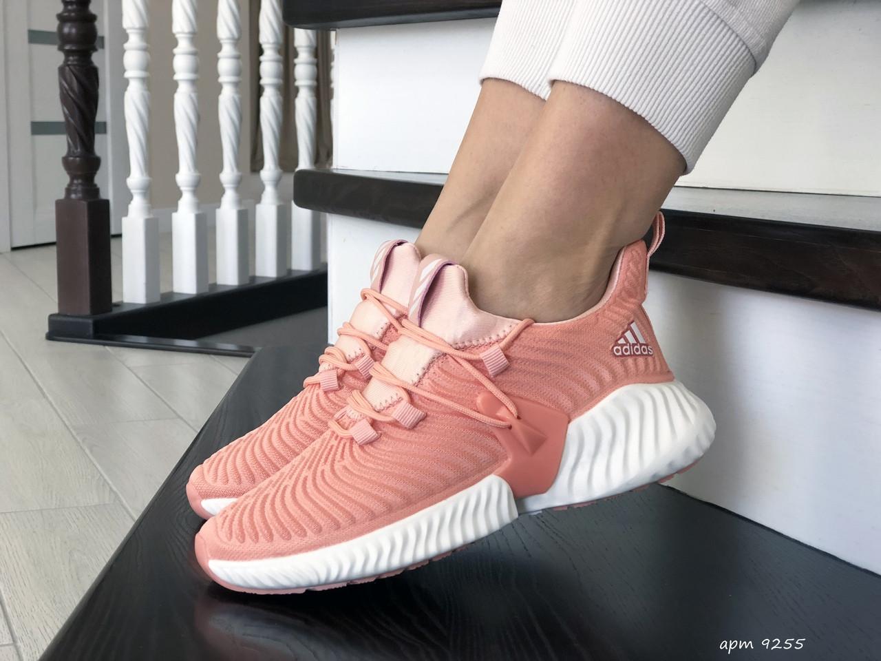 Модные женские кроссовки Adidas,текстиль,розовые