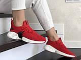 Модные женские кроссовки Adidas,текстиль,красные, фото 2
