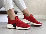 Модные женские кроссовки Adidas,текстиль,красные, фото 3
