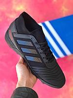 Сороконожки Adidas Predator Tango 18.3 / многошиповки адидас предатор с носком/ЧЕРНЫЕ/39,40,43/