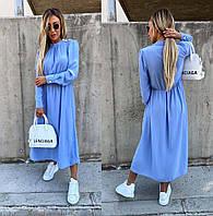 """Элегантное нарядное женское платье в больших размерах 8063-1 """"Софт Миди Стойка Пуговички"""" в расцветках"""