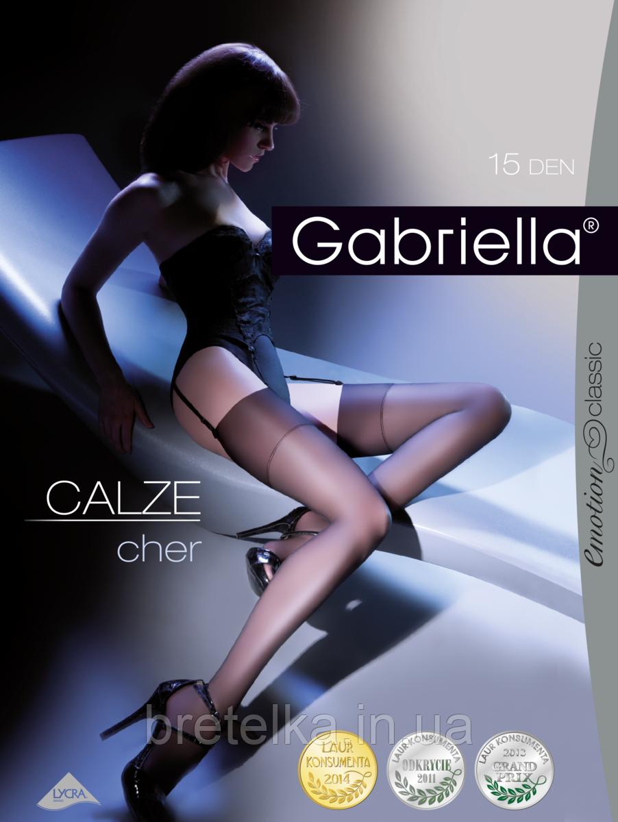 Женские чулки под пояс черные 15 den Gabriella Cher