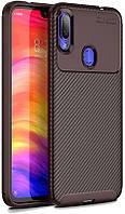 Чехол-накладка Ipaky Carbon Fiber Series Soft TPU Case Xiaomi Redmi Note 7 Brown 98705, КОД: 1302325
