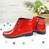 Черевики жіночі червоні лакові на шнурівці, фото 2