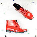 Черевики жіночі червоні лакові на шнурівці, фото 3
