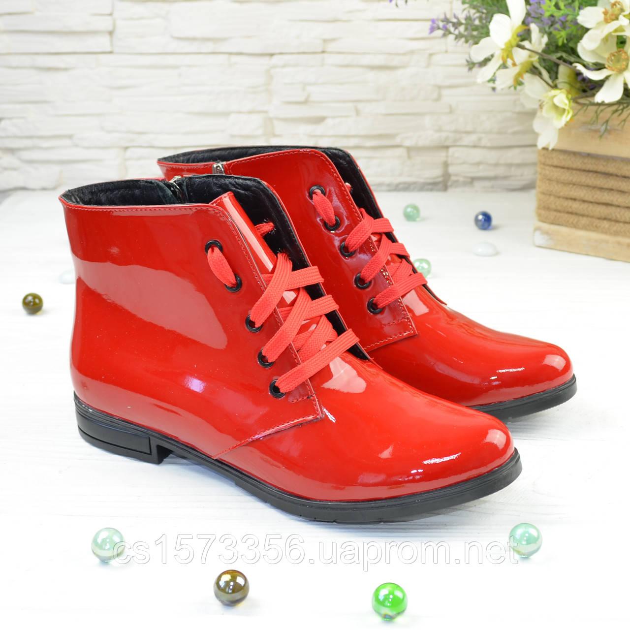 Черевики жіночі червоні лакові на шнурівці