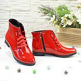 Черевики жіночі червоні лакові на шнурівці, фото 4