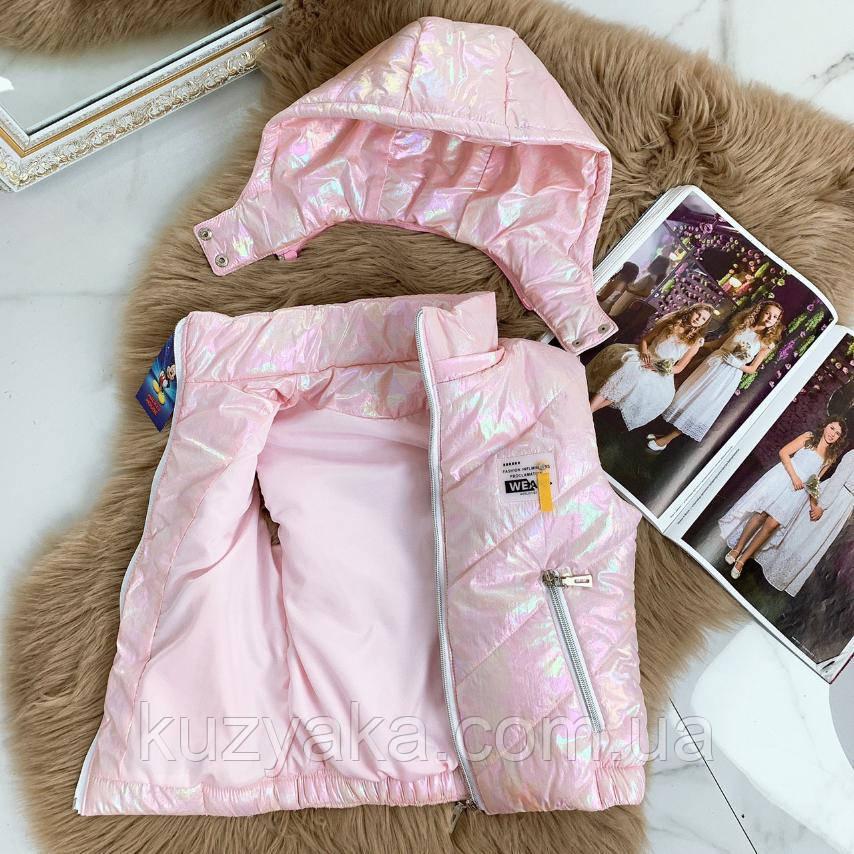 Детская розовая жилетка для девочки на рост 128-146 см
