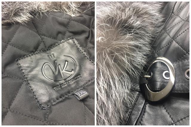 Женская кожаная куртка с чернобуркой
