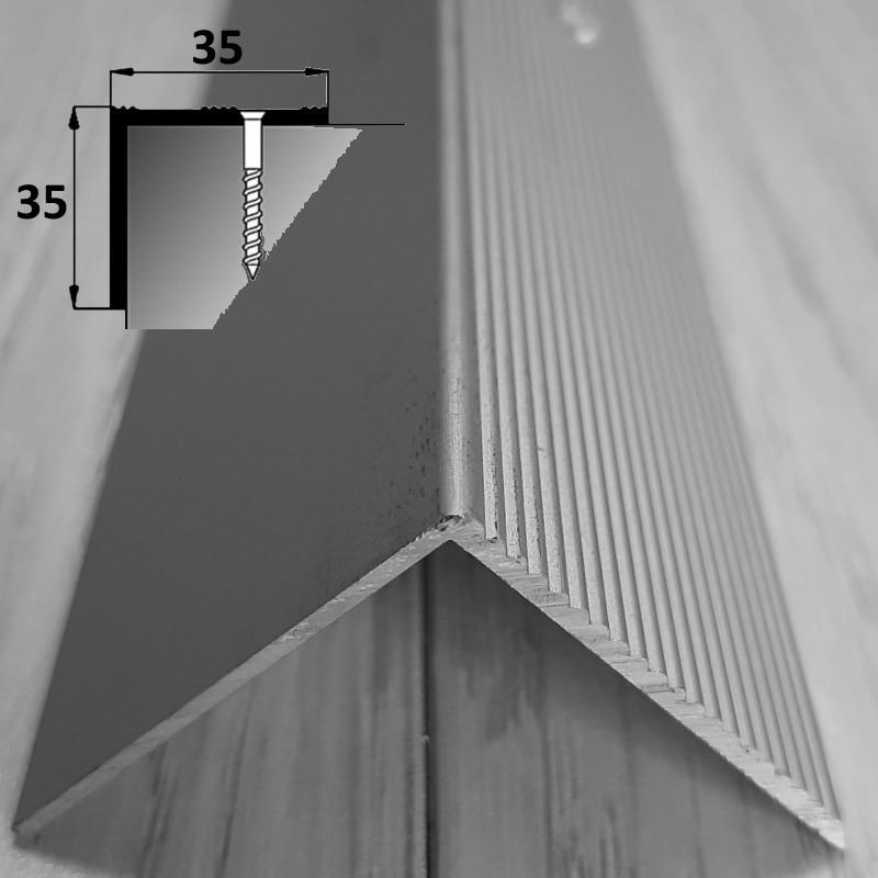 Планка алюминиевая угловая для ступеней 35 мм х 35 мм 90 см