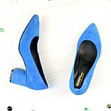 Туфли женские замшевые на устойчивом каблуке, цвет электрик, фото 2