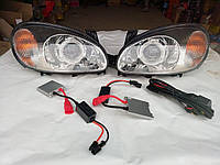Фары передние Ланос с линзой ксеноном + блоки розжига + провода комплект