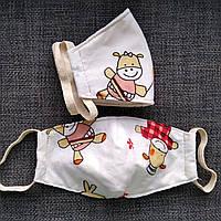 Распродажа!Маска текстильная защитная многоразовая 5 слоев ( 2 слоя ткани и 3 слоя марли ).