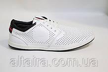 Мужские белые кожаные мокасины-туфли, перфорированные, на шнурках. Чоловічі шкіряні туфлі-мокасини, білі.