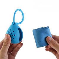 Полотенце из микрофибры для спорта, туризма, охлаждающее, быстросохнущее 70х30 в силиконовом чехле (Синее)