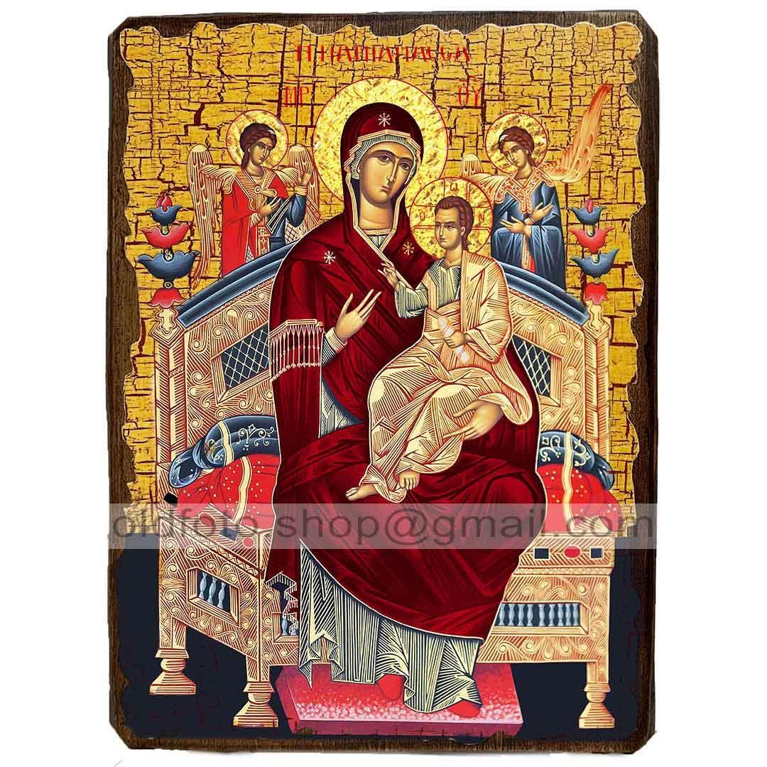 Всецарица Икона Пресвятой Богородицы  ,икона на дереве 130х170 мм