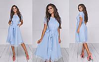 """Очаровательное нарядное женское платье средней длины 3073 """"Софт Клёш Миди Кружево"""" в расцветках"""
