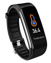 Фитнес браслет С6t часы тонометр давление крови сатурация кислородом пульс оксиметр термометр трекер здоровье