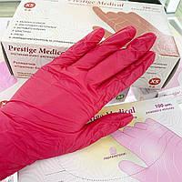 Перчатки нитриловые неопудренные  Prestige Medical XS (красные), 50 пар