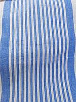 Льняная плотная ткань в синюю полоску (шир. 50 см), фото 1