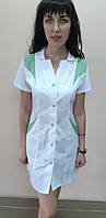 Жіночий медичний халат Еріка на гудзиках короткий рукав бавовна