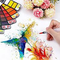 Акварельные краски 42 цвета, карманный веер, кюветка + кисточка (54815485421654)