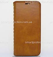 Чехол - книжка leather folio для Huawei Y6 Prime 2018 коричневый