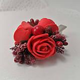 Заколка для волос с цветами красные розы, фото 5