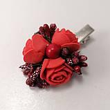 Заколка для волос с цветами красные розы, фото 4