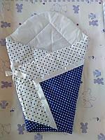 Летний конверт одеяло на выписку для новорожденного Синий горох