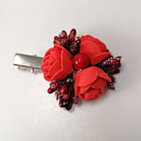 Заколка для волос с цветами красные розы, фото 3