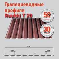 Профнастил универсальный т 20-27-1100 (кровля) с полимерным покрытием 0,5 мм мат Ruukki 30.
