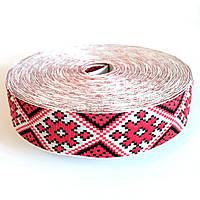 Тесьма с украинской вышивкой, 30 мм. в мотке 25 м. арт.151-30 красная