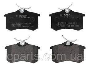 Колодки гальмівні задні (механічний ручник) Renault Megane 3 хетчбек (Bosch 0986494387)(висока якість)