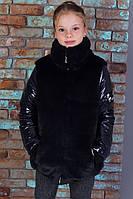 """Детская стильная тёплая куртка на синтепоне 419 """"Мех Рукава Лаке"""" в расцветках"""
