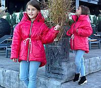 "Детская тёплая куртка холлофайбер + флис 7-6 ""Плащёвка Енка"" в расцветках"