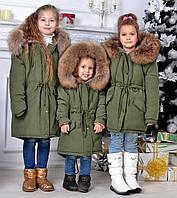 """Детская тёплая куртка-парка силикон + мех 9139 """"Парка Капюшон Натуральный Мех"""" в расцветках"""