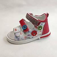Детские босоножки сандалии сандали для девочек кожаные белые с красным tom.m 24р 15см
