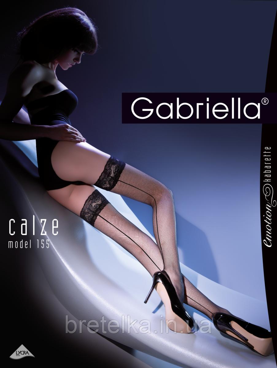 Женские чулки на силиконе черные со стрелкой сетка Gabriella Kabarette 155
