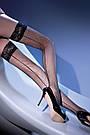 Женские чулки на силиконе черные со стрелкой сетка Gabriella Kabarette 155, фото 4