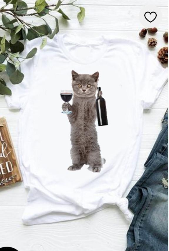 Футболка Котик з вином