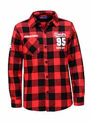 Рубашка для мальчика в клетку красная  BCS-1313 10-15лет