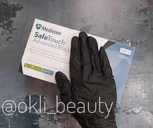 Нитриловые перчатки Medicom без пудры 50 пар (черные), размер L