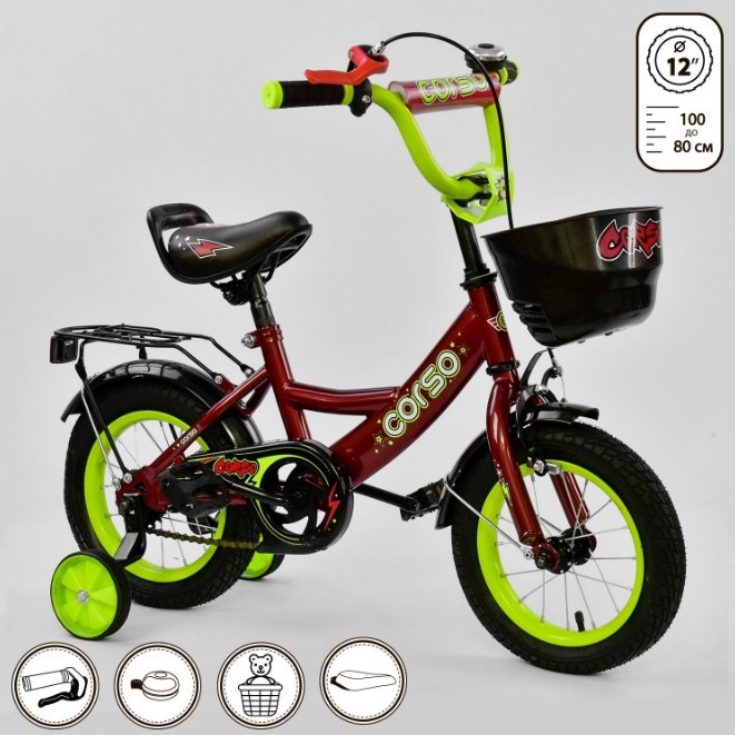 Велосипед детский двухколесный 12 красный Corso G-12041