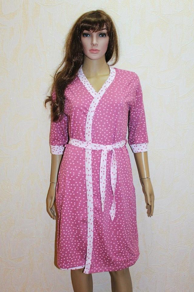 Комплект для кормления ночная сорочка и халат розовый