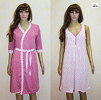 Комплект для кормления ночная сорочка и халат розовый 44-54р., фото 1