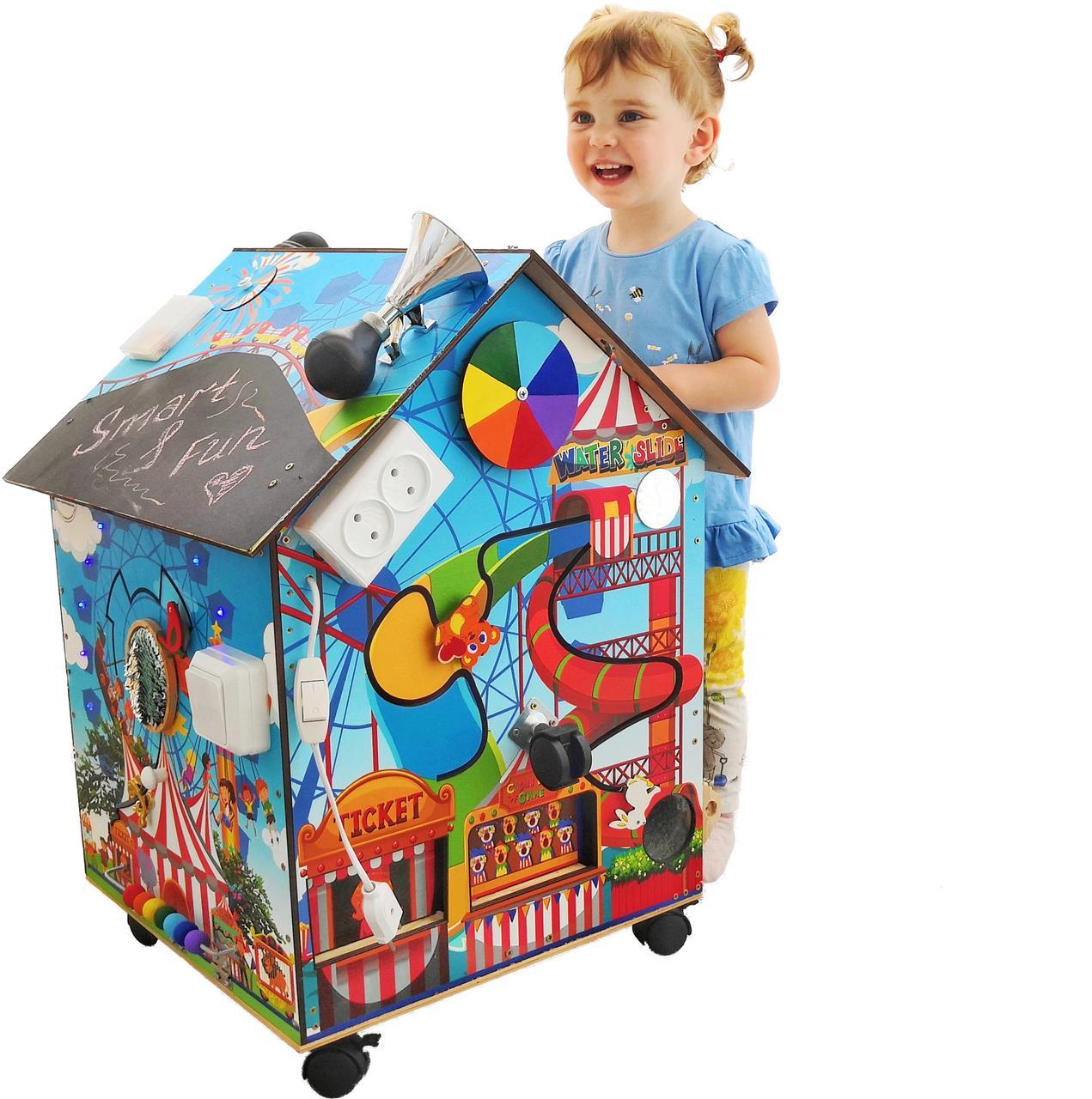 БОЛЬШОЙ БИЗИБОРД БИЗИДОМ «Меча малыша» с подсветкой, мягкой игрушкой и каналом для полета шарика