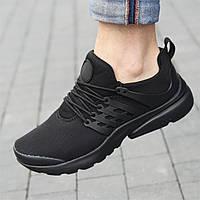 Кросівки чоловічі літні весняні чорні сітка (код 7727)