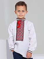 Класична вишиванка для хлопчика з червоно-чорною вишивкою, фото 1