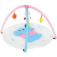 Детский мягкий развивающий коврик для младенца Слоник (с дугами, погремушками, прорезывателем для зубов)